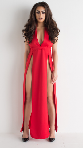 Ruby - Red Dress High Splits Low V Neck Long Backless