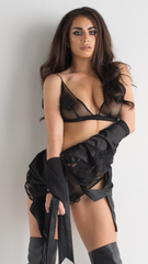 Black Lace Lingerie Set See Though Bralette And Knickers