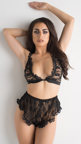Black Lace Lingerie Set V Neck Bralette Frill Knicker Detail