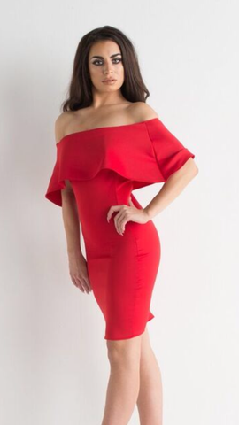 Red Off Shoulder Short Dress With Frill Detail