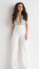 Culotte Jumpsuit Green and White Sequin Backless