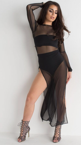 Black Long See Through Dress Splits Crop Top