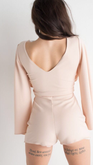 Dove Grey Play Suit With V Neckline And Split Sleeve Detailing
