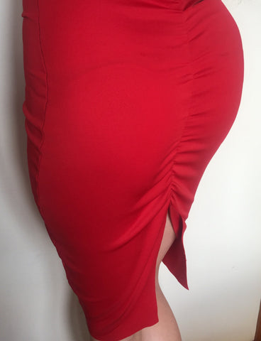 #LadyInRed- Red gathered evening dress worn here by Olivia Buckland.