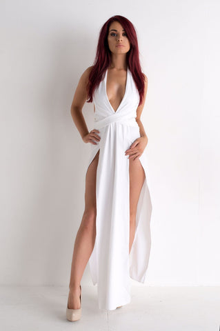 White Dress V Neck Long High Splits