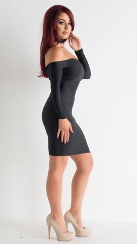 Jessica Cunningham Skin Tight Black Lycra Dress Off Shoulder