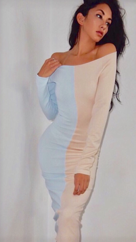 Baby Blue and Nude Knee Length Dress Fitted