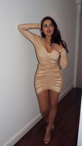 Marine Body Con Nude Gathered Short Dress