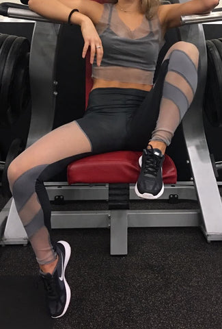 Women's Sports Leggings Grey Stretchy Mesh Detail Panels