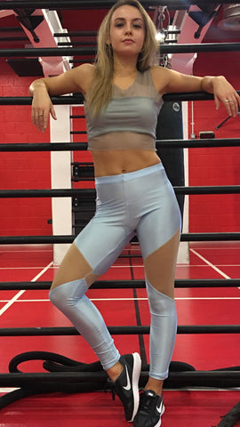Woman's Blue Lycra Sports Leggings Mesh Detail