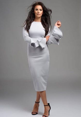 Jessica Cunningham Light Grey Knee Length Fitted Dress Frill Long Sleeves