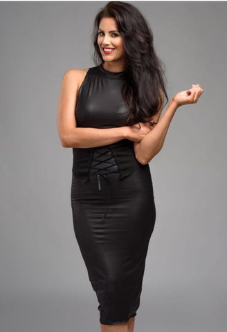 Jessica Cunningham Black Dress Leather Look Knee Length Fitted Belt