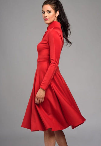 Women's Business Wear Red Knee Length V Neck Stretchy Dress