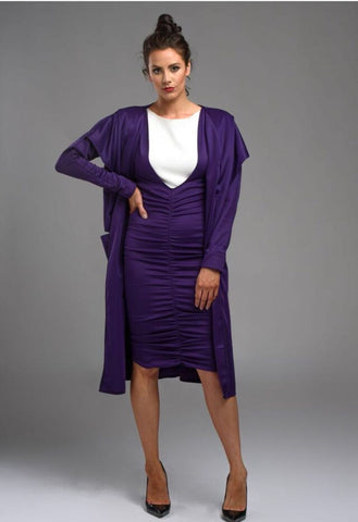 Jessica Cunningham Purple / Black MAC Jacket 3/4 Length Dress Coat