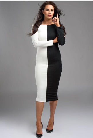 Woman's Business Wear Black And White Knee Length Dress Fitted Stretchy