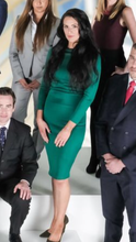 Load image into Gallery viewer, Jessica Cunningham 3/4 Length Green Dress Fitted