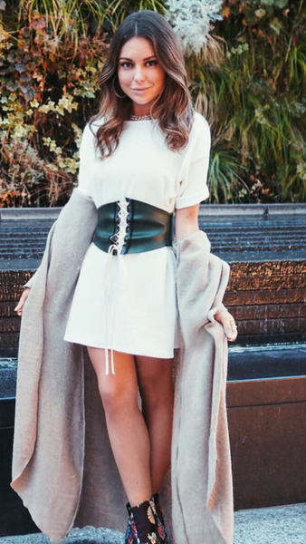 #KylieFox- White T-Shirt Dress with Green Leather Look Belt. Inspo from Kylie Jenner #Kardashians. Worn by Louise Thompson Made In Chelsea TV Star.
