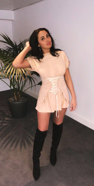 #Don'tCrossMe! -A Nude short dress with criss cross design worn by Marnie Simpson from TV show Geordie Shore.