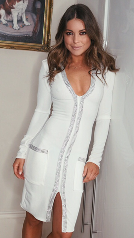 White Bodycon Dress V Neck Split Diamanté Trim