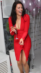 #JessicaFox-Red Fitted Evening / Party Dress with a V Neck and Splits. Worn by Jessica Cunningham Celebrity Big Brother and The Apprentice TV Star.