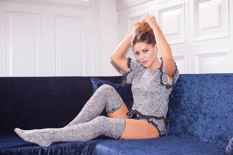 Black/Grey Lounge Wear/Pyjamas Set Knitted Cropped Top Lace Detail Shorts