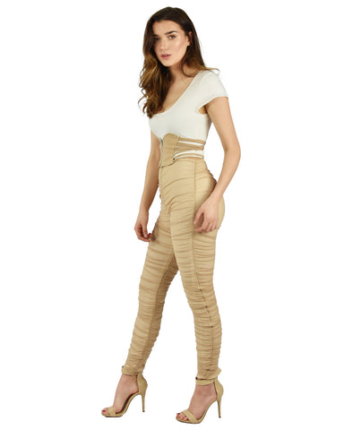 Ivory / Nude Gathered Trousers High Waist And Skinny Fit Detail
