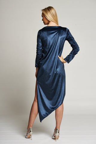 A Metallic Blue Long Sleeve Asymmetric Hem Midi Dress