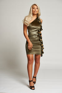 A Gold One Shoulder Mini Dress with Side Ruffle