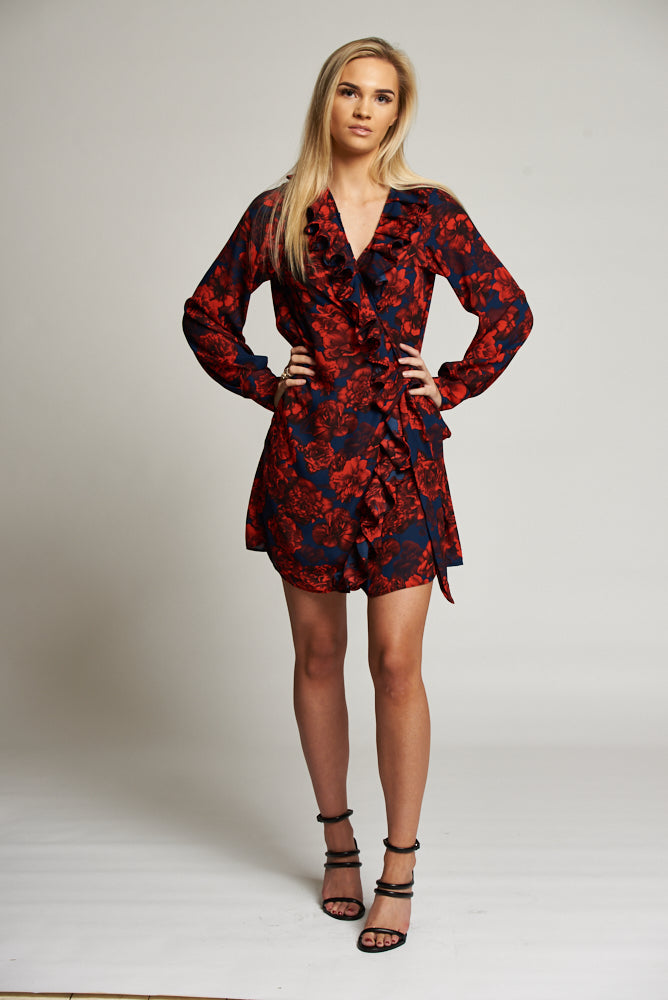 A Navy/Red Floral Print Wrap Mini Dress with Frill Detail