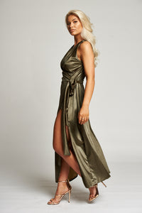 A Gold Maxi Wrap Evening Dress
