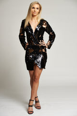 A Leopard Effect Black and Rose Gold Sequin Blazer Dress