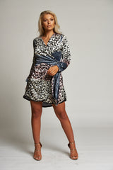 A Leopard Multi-Print Wrap Mini Dress