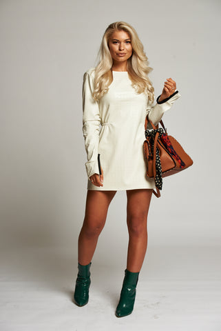 A Cream Leatherette Long Sleeve Mini Dress with Ruched Detail