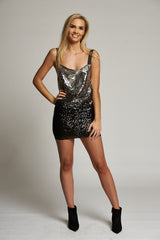 A Silver & Black Sequin Cami Mini Dress