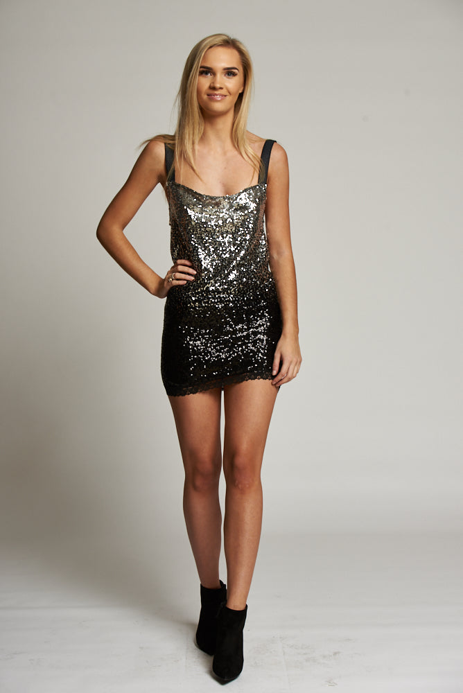 A Silver and Turquoise Sequin Cami Mini Dress