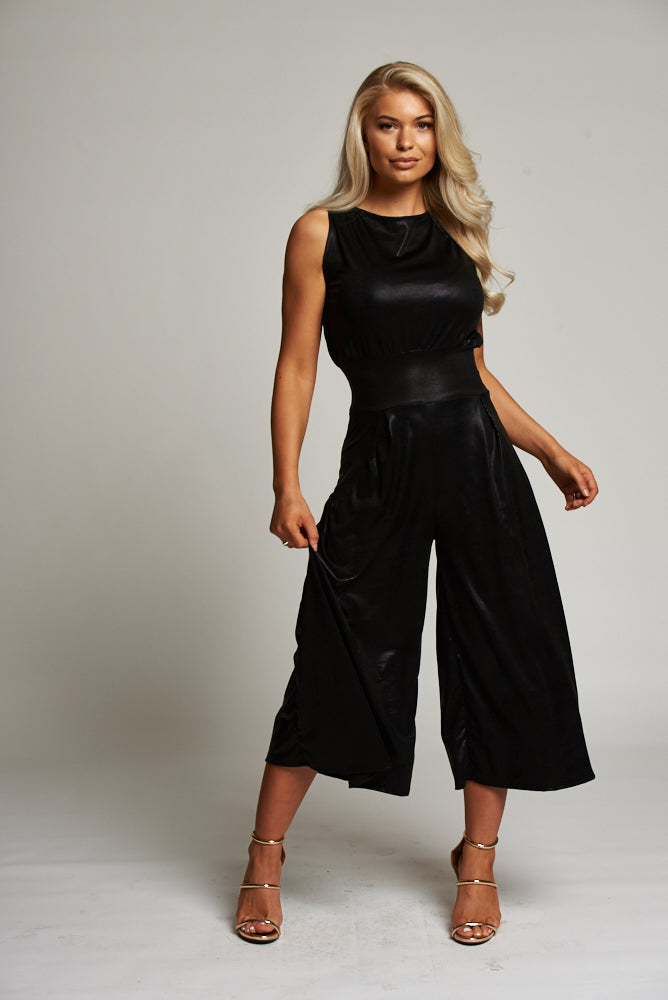 A Black Snake Print Leatherette Sleeveless Culottes Jumpsuit