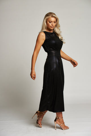 69ad5c3afcd ... A Black Snake Print Leatherette Sleeveless Culottes Jumpsuit