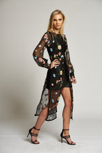 Load image into Gallery viewer, A Sheer Black and Floral Duster Dress Coat with Corset Fastening