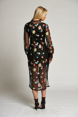 A Sheer Black and Floral Duster Dress Coat with Corset Fastening