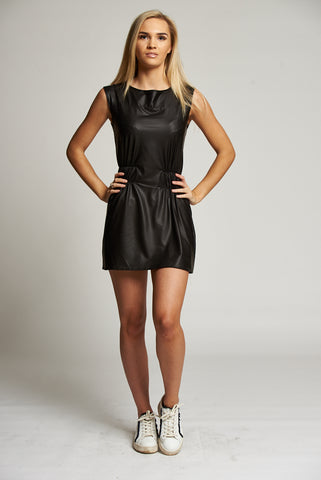A Black Leatherette Sleeveless Mini Dress with Snake print detail.