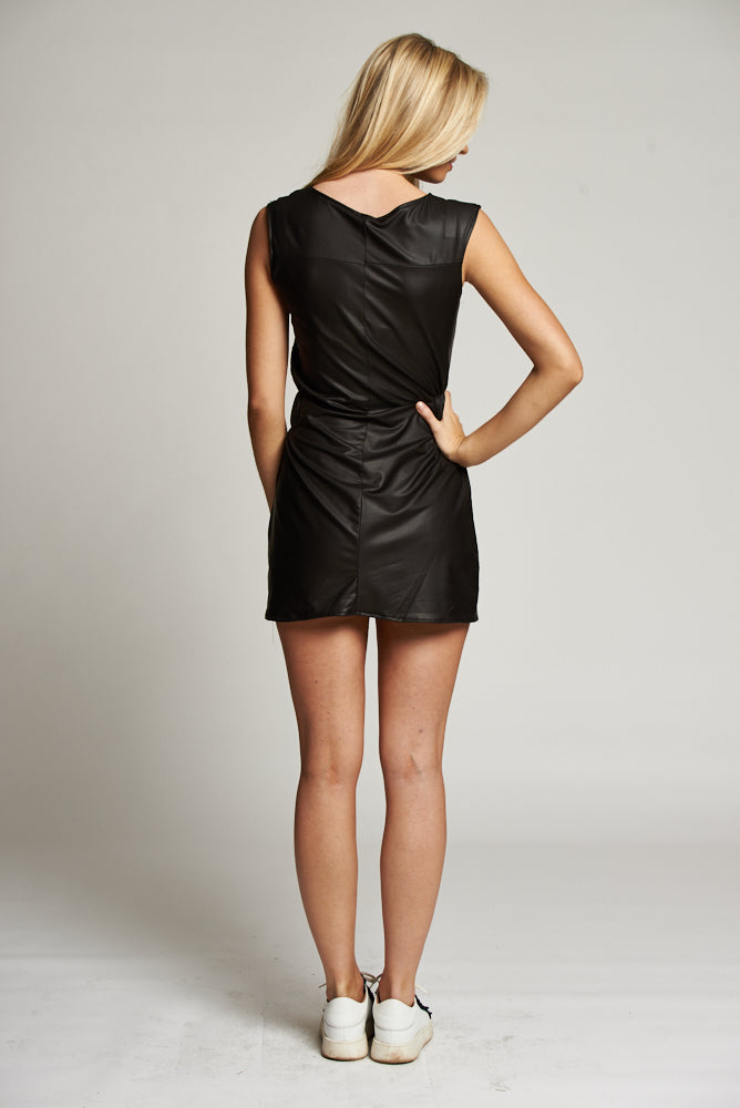 A Black Leatherette Sleeveless Mini Dress
