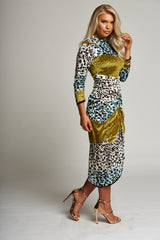 A Leopard Multi-Print Midi Dress with Ruched Detail