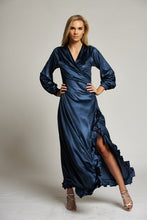 Load image into Gallery viewer, A Metallic Blue Maxi Wrap Evening Dress with Ruffles
