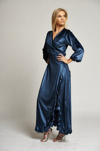 A Metallic Blue Maxi Wrap Evening Dress with Ruffles
