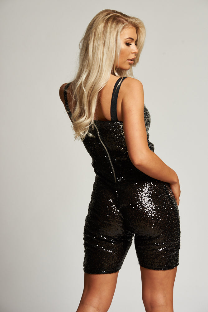 A Black & Silver Sequin Fitted Playsuit / Unitard