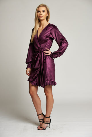 02040a01feda ... A Metallic Purple Wrap Mini Dress with Frill Detail ...