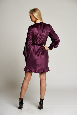 A Metallic Purple Wrap Mini Dress with Frill Detail