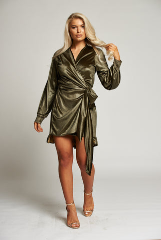 A Gold Wrap Mini Dress with Ruffle Detail