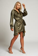 Load image into Gallery viewer, A Gold Wrap Mini Dress with Ruffle Detail