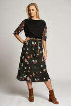 Load image into Gallery viewer, A Floral and Black Multi-Print Midi Dress with Short Ruched Sleeves